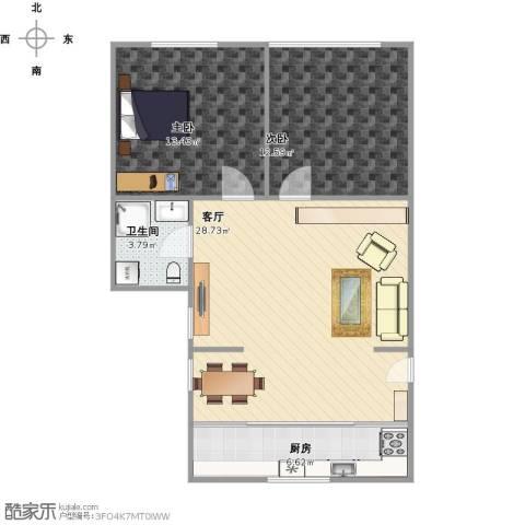 春港丽园2室1厅1卫1厨87.00㎡户型图