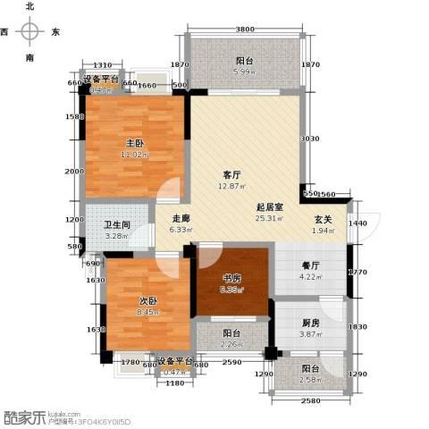 香木林领馆尚城3室0厅1卫1厨100.00㎡户型图