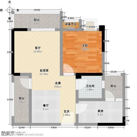 香木林领馆尚城1室0厅1卫1厨72.00㎡户型图