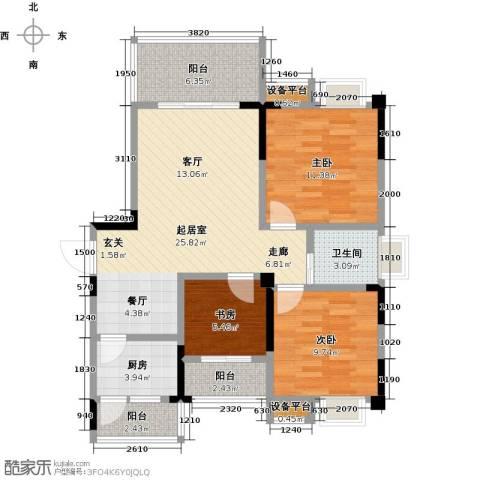 香木林领馆尚城3室0厅1卫1厨104.00㎡户型图