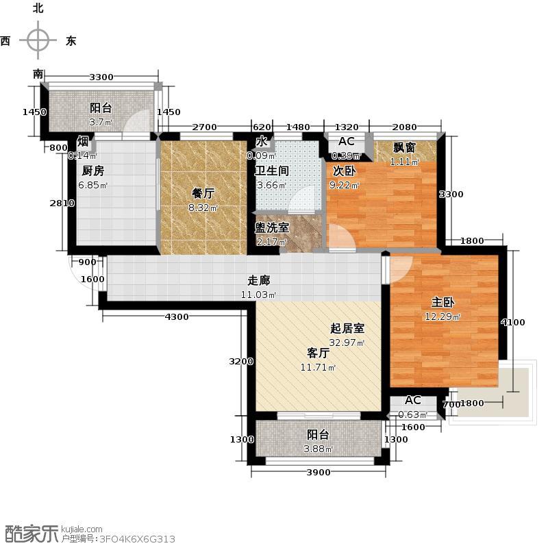 MSD东壹区111.00㎡C1户型2室2厅1卫