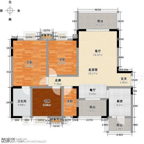 香木林领馆尚城4室0厅1卫1厨131.00㎡户型图