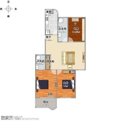 太阳公寓3室1厅2卫1厨129.00㎡户型图
