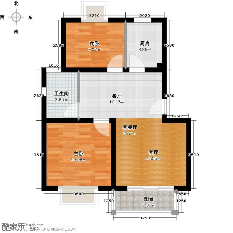 丽景翠庭一期70.00㎡房型: 二房; 面积段: 70 -80 平方米;户型