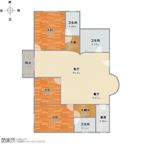 明园世纪城3室1厅3卫1厨158.00㎡户型图