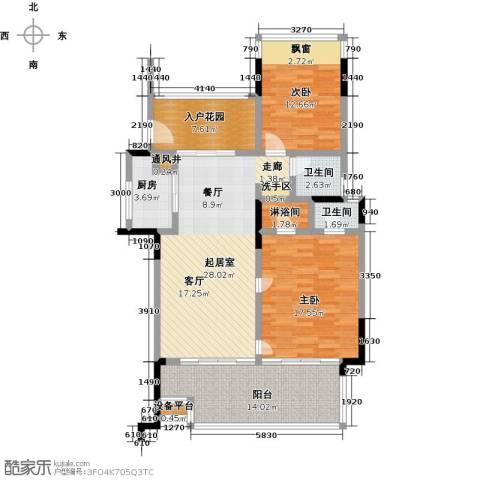 华润・石梅湾九里2室0厅2卫1厨109.00㎡户型图