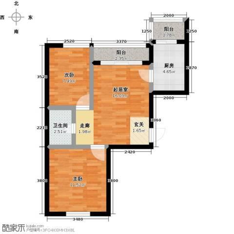幸福港湾2室0厅1卫1厨56.00㎡户型图