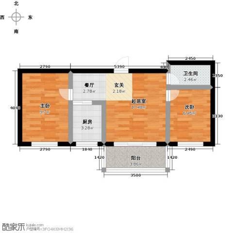 幸福港湾2室0厅1卫1厨49.00㎡户型图