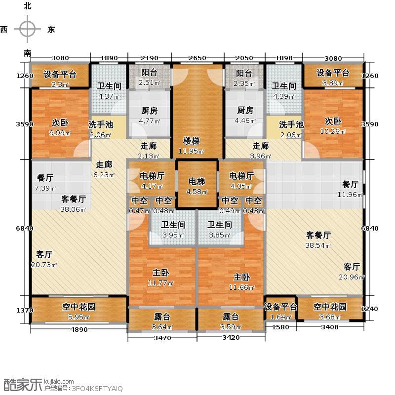 东方维也纳BB跃层下层户型4室2厅4卫2厨