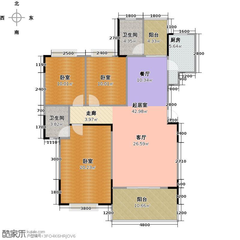 泰达润景园131.28㎡131.28㎡三房户型3室2厅2卫