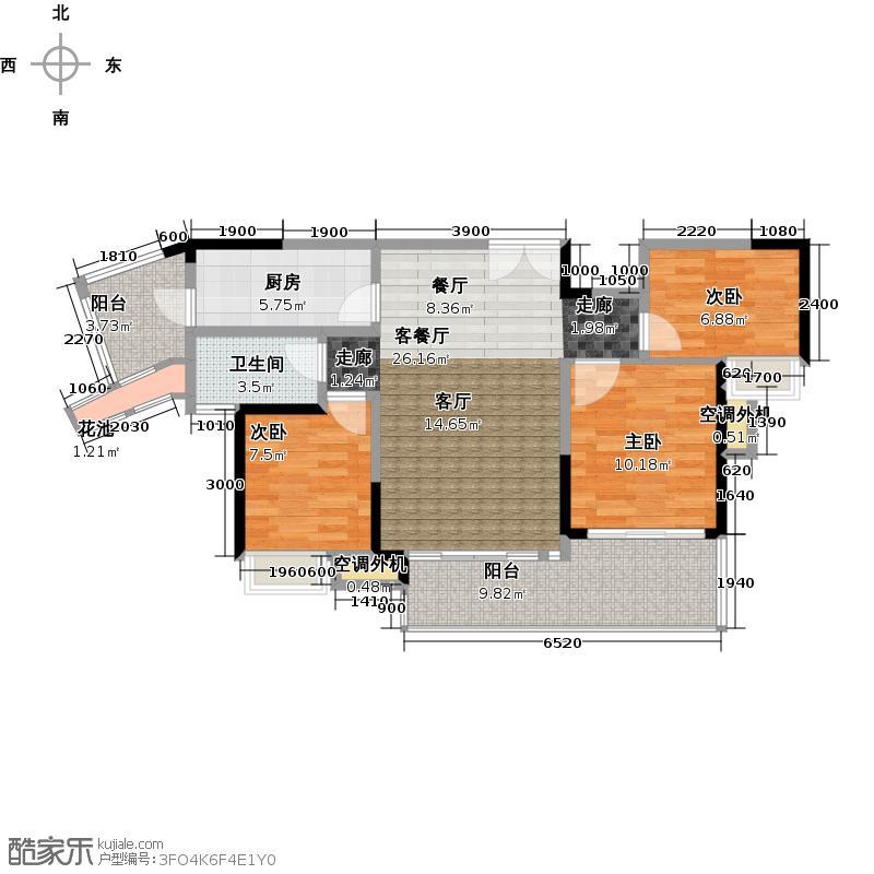 中惠璧珑湾9栋02单元户型3室1厅1卫1厨