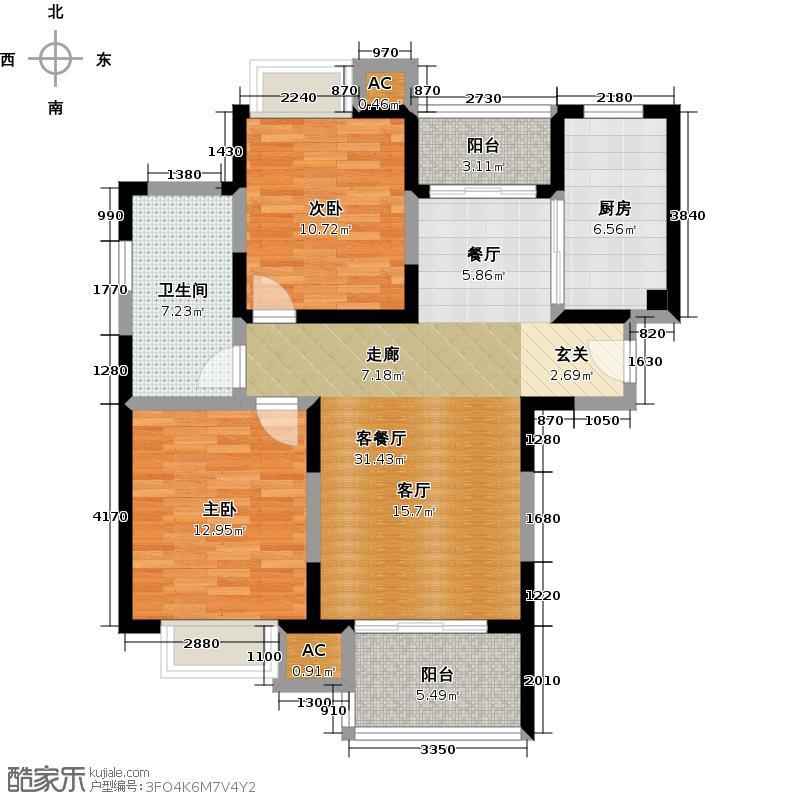 海尚明城(福地苑)90.00㎡房型: 二房; 面积段: 90 -100 平方米;户型