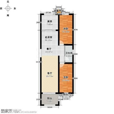 和园2室0厅1卫1厨90.00㎡户型图