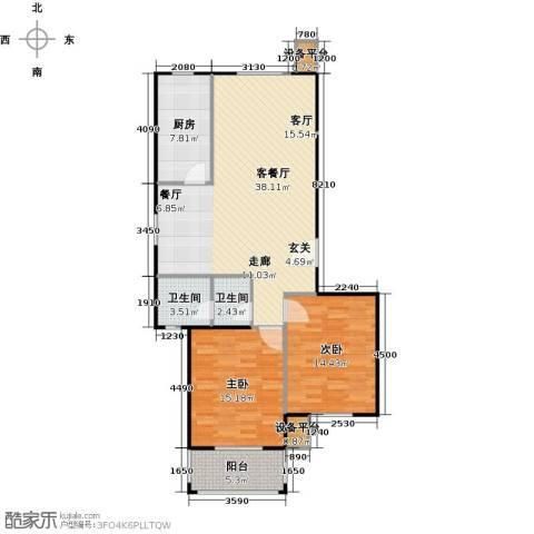 金羚嘉和馨园二期2室1厅2卫1厨114.00㎡户型图