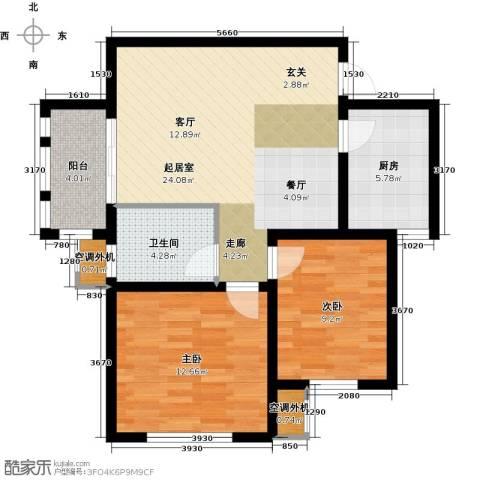 嘉友水岸观邸2室0厅1卫1厨71.00㎡户型图