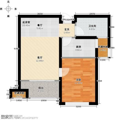 嘉友水岸观邸1室0厅1卫1厨55.00㎡户型图