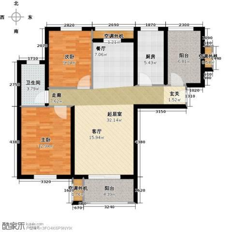 嘉友水岸观邸2室0厅1卫1厨90.00㎡户型图