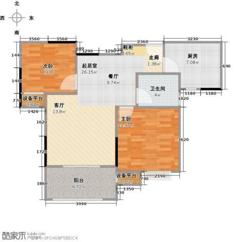 绿地世纪城2室0厅1卫1厨73.00㎡户型图