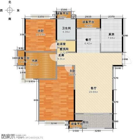 绿地世纪城3室0厅1卫1厨117.00㎡户型图