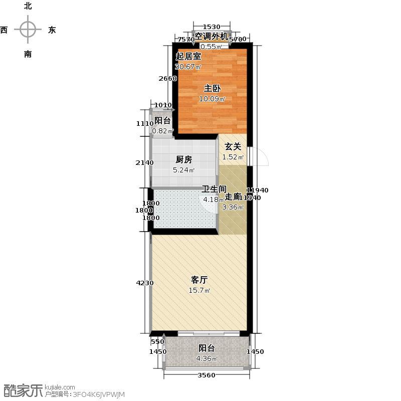 大地12城二期--朗琴园24号楼2-18F 一室二厅一卫 68㎡户型