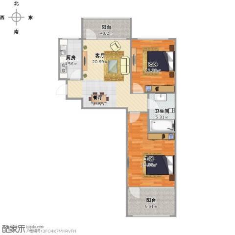 朗诗国际街区(跃层)2室1厅1卫1厨95.00㎡户型图