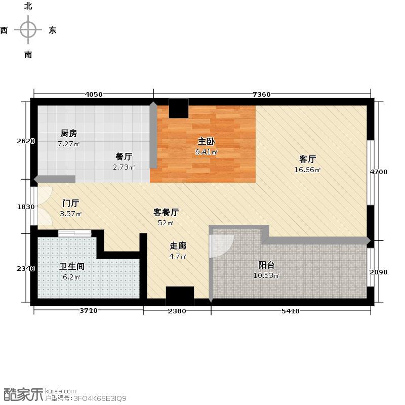 青云汇77.51㎡单身公寓户型1室1厅1卫