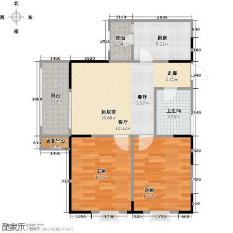 渝洲新城(三期)2室0厅1卫1厨59.00㎡户型图