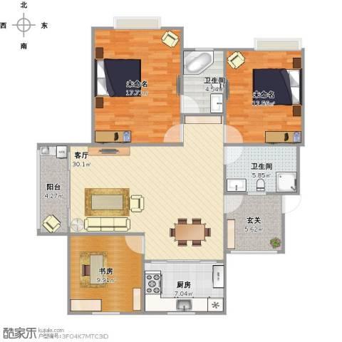 美满锦园1室1厅2卫1厨131.00㎡户型图