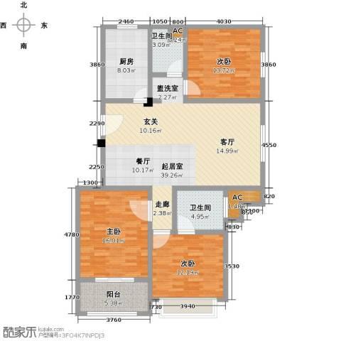 金地・中央美域3室0厅2卫1厨121.00㎡户型图
