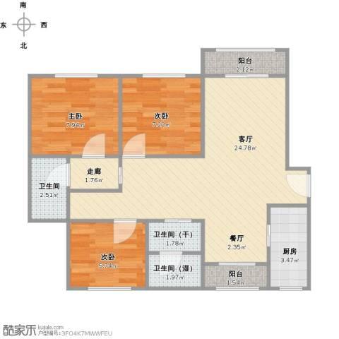 申润・江涛苑3室1厅1卫1厨84.00㎡户型图