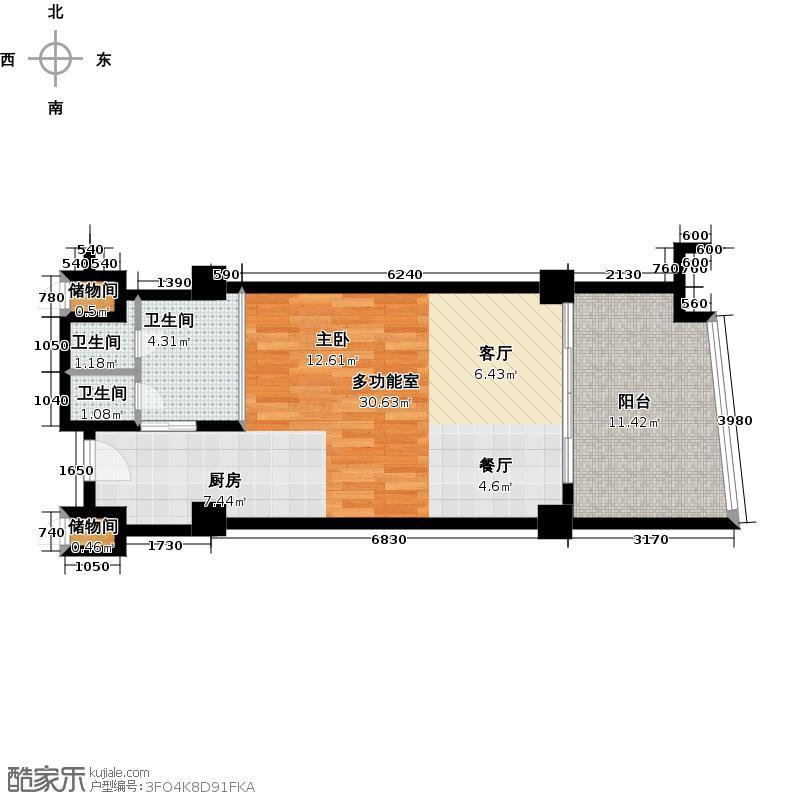 三亚海韵度假酒店64.77㎡一室一卫户型