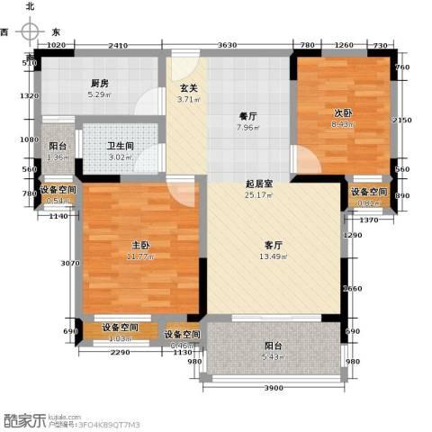 益阳国色天香2室0厅1卫1厨81.00㎡户型图