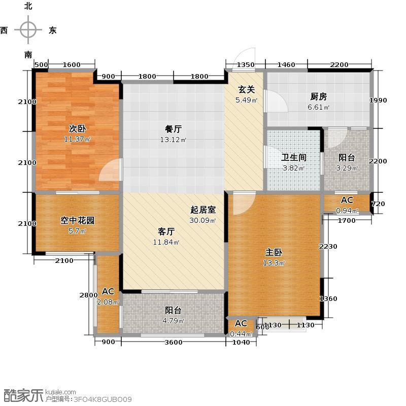 中建麓山和苑88.31㎡香草涧A2户型 两室两厅一卫户型2室2厅1卫