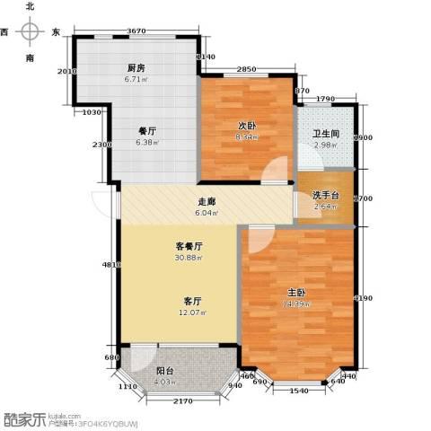 悦泰山里三期2室1厅1卫0厨85.00㎡户型图