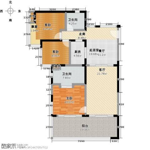 华润・石梅湾九里3室1厅2卫1厨123.00㎡户型图