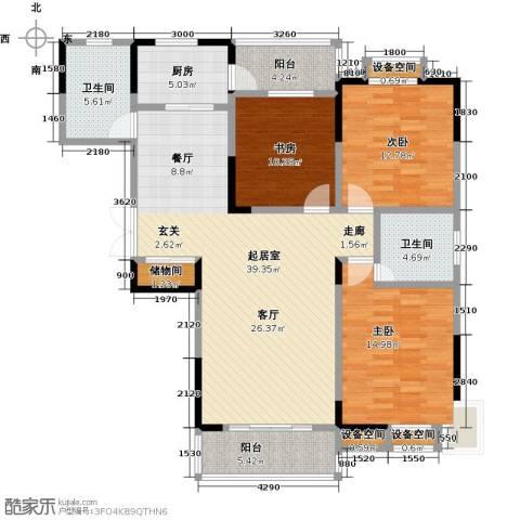 益阳国色天香3室0厅2卫1厨127.00㎡户型图