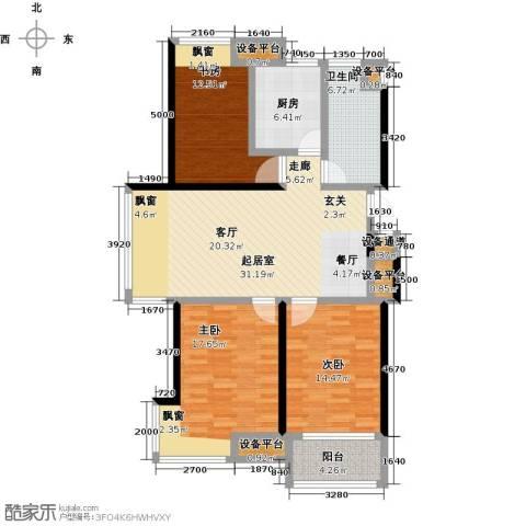 翡翠城3室0厅1卫1厨140.00㎡户型图