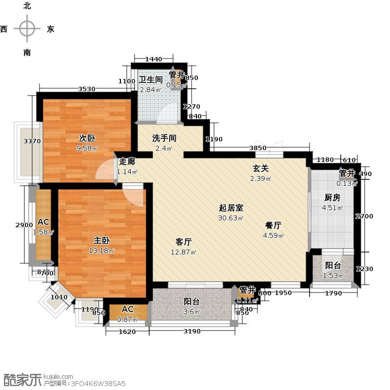 中海瀛台一期80.00㎡二房二厅一卫-89平米-18套户型