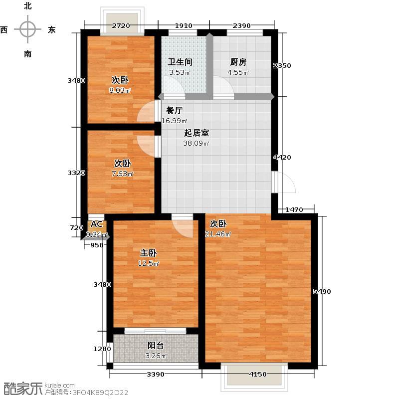 兴业新瑞花园89.00㎡多层B户型3室2厅1卫