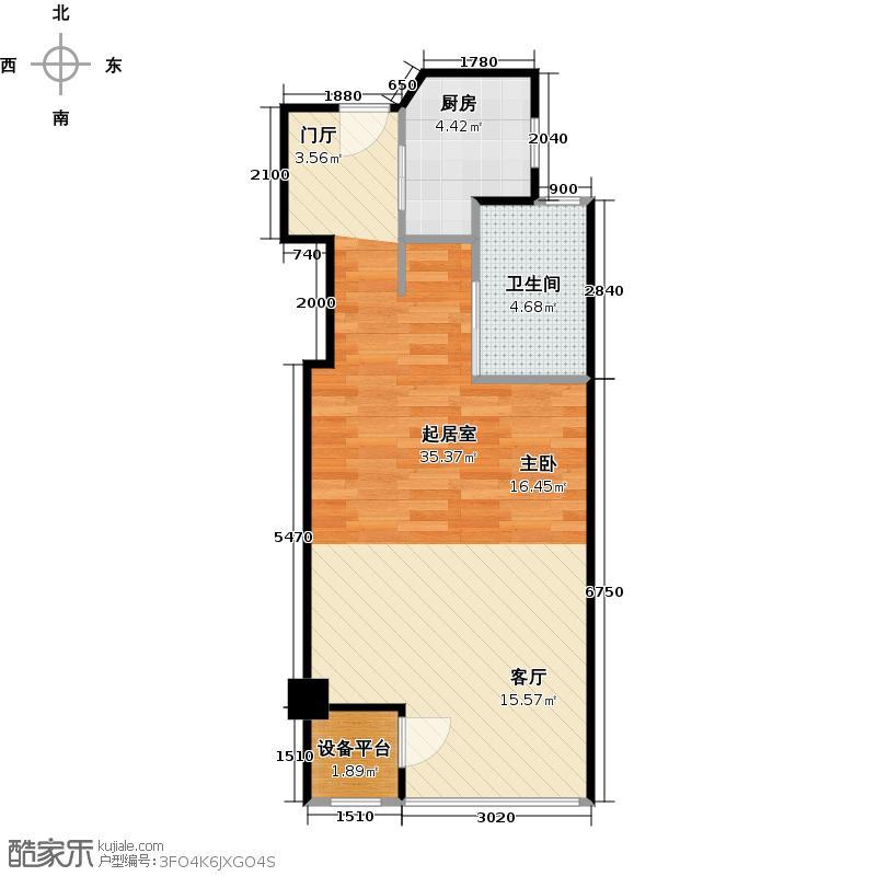 绿地蓝海庭(绿地东岸涟城一期)50.00㎡一房一厅一卫-63平方米-78套户型