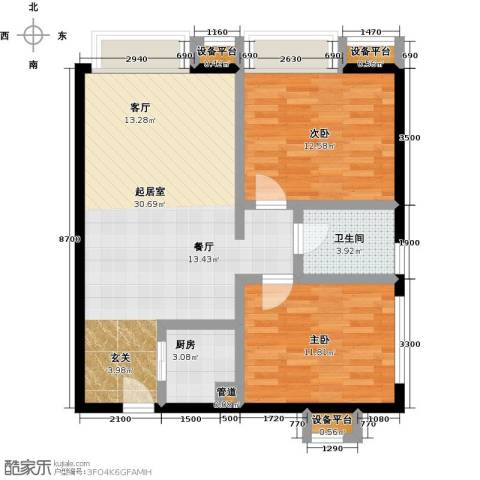 书香园2室0厅1卫1厨91.00㎡户型图