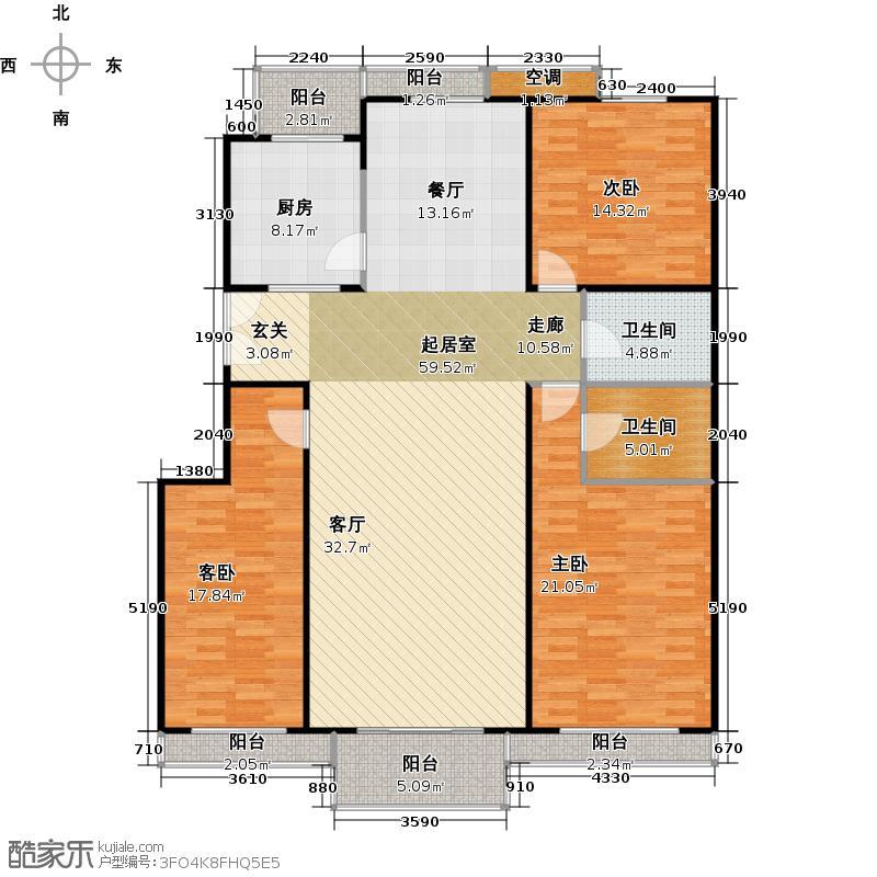 金地格林小镇155.96㎡三室二厅二卫户型