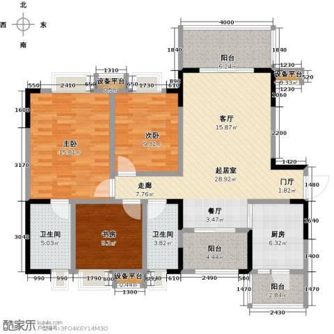 香木林领馆尚城3室0厅2卫1厨132.00㎡户型图