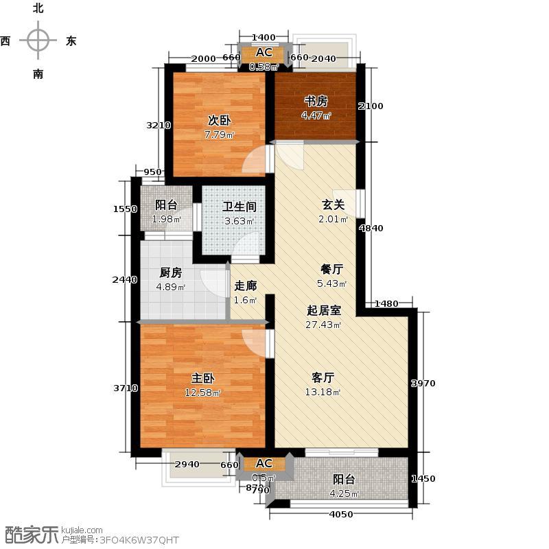 中海瀛台一期80.00㎡三房二厅一卫-89平米-50套户型
