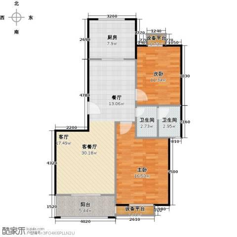 金羚嘉和馨园二期2室1厅2卫1厨109.00㎡户型图