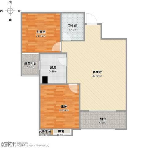 罗马西西里2室1厅1卫1厨102.00㎡户型图