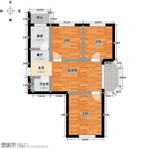 幸福港湾3室0厅1卫1厨66.00㎡户型图