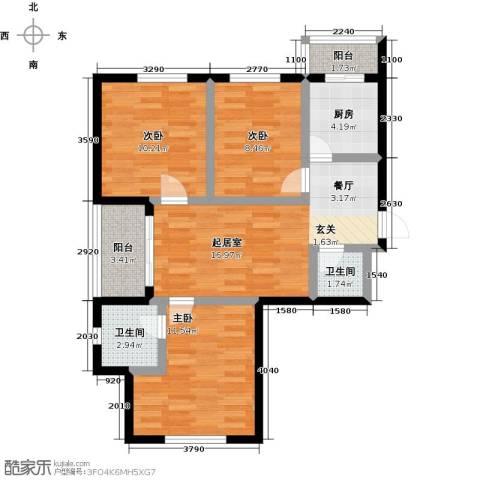 幸福港湾3室0厅2卫1厨73.00㎡户型图