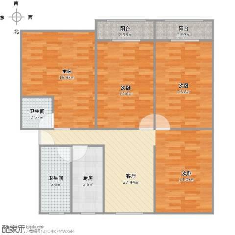 清涧四街坊3室1厅2卫1厨123.00㎡户型图