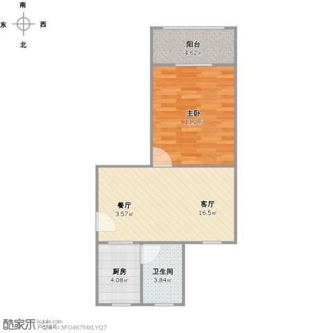 莘南一村1室1厅1卫1厨56.00㎡户型图